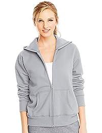 Hanes by ComfortSoft EcoSmart Women's Full-Zip Hoodie Sweatshirt_Light Steel_L