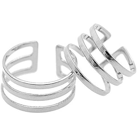 Jewelry–Anillo de acero inoxidable para mujer brillante Tres línea Midi Knuckle Ring Set de 2bañado en plata