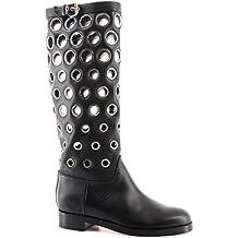 Christian Louboutin Chaussures Femme Bottes Apollobotta Calf Black Silver Italy