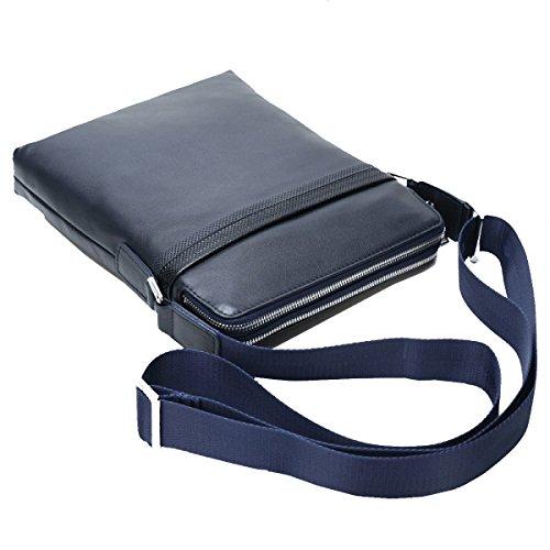 Yy.f Borsa Di Pelle Uomo Borsa A Tracolla Casuale Degli Uomini Primo Strato Di Borsa Di Pelle I Documenti Degli Uomini Messenger Bag Sacchetto Solido Nero Blu Blue