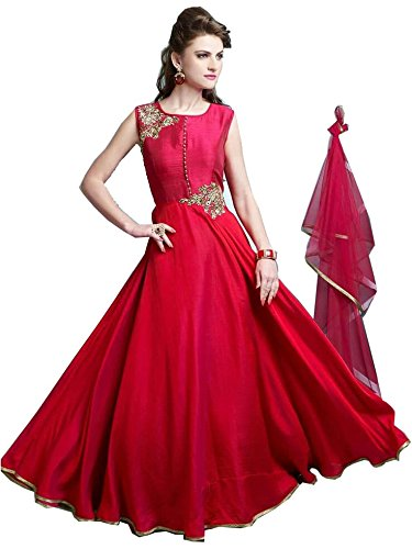 FebForrest Womens\'s Red Tapeta Silk Attractive Indo-Western Dress Materials/Salwar Suit (Free Size) [SDM 30 (FF_G1)]