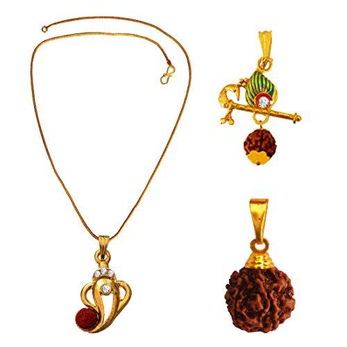 Menjewell 100% Original Rudrakasha Spritual Gold Plated Ganesha ,Shri Krishna Bansuri With Rudraksha Pendant Combo For Men & Boy  available at amazon for Rs.225