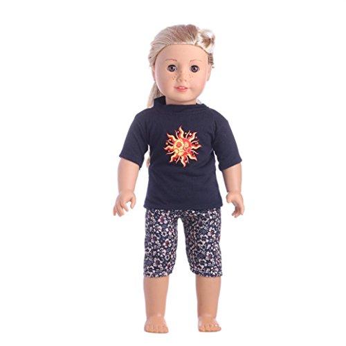 Puppe Kleidung Mädchen Puppe Hochwertige Sportbekleidung für 18 Zoll Unsere Generation American Girl Doll (Schwarz)