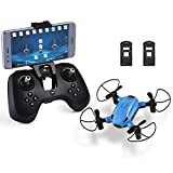 HELIFAR Plegable Drone con cámara HD, X1 WiFi FPV Mini dron 2.4GHz 6-Axis Gyro RC Quadcopter para niños, Principiantes, Headless Mode, Altitude Hold con Dos batería