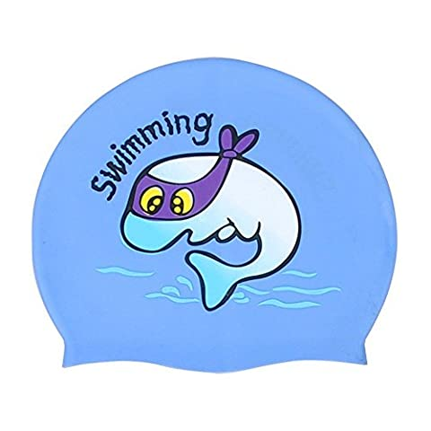 Neeiors Cute enfants souple étanche en silicone Bonnet de bain d'été piscine Spa Bonnet de bain Cheveux oreille Coque Bain Chapeau, Blue Whale