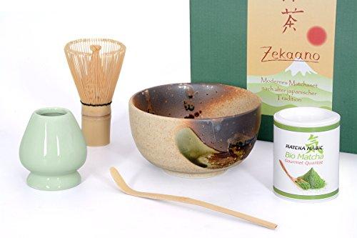 Zekaano Bio-Matcha Starter Set 5-teilig, beige/braun bestehend aus Original japanische Matcha-schale, Matcha-löffel und Matcha-besen (Bambus), eleganter Geschenkbox. Original Aricola®