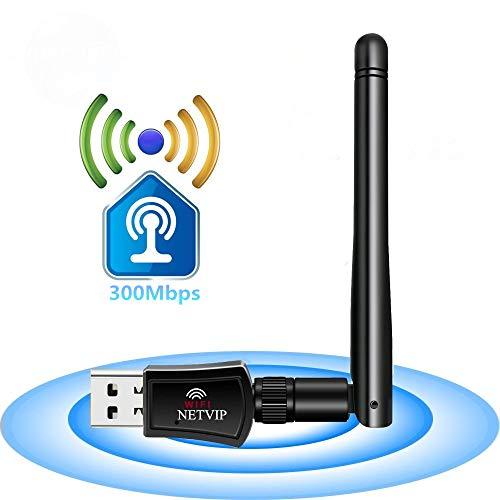 Stick Antenne Booster (NETVIP WLAN Stick 300Mbit/s Wireless USB Adpater Signal Verstärker (2,4GHz, 2dBi Extern Antanne) LAN Netzwerke Karte WLAN Receiver für Windows 8/7/ XP/Vista/Mac OS)