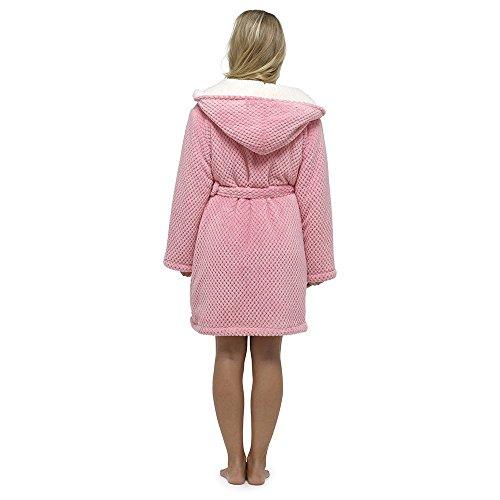Foxbury Damen Bademantel mit Sherpa-Futter Waffel Design Knielang Dunkelrosa