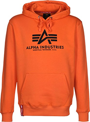 Alpha Industries Basic Hoodie flame orange Logo Military Sweatshirt