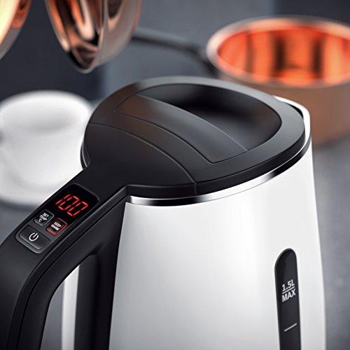 Arendo – Edelstahl Wasserkocher mit Temperatureinstellung | 7 wählbare Temperaturstufen 40° C – 100° C | 3 Tasten (Temperatureinstellung + Warmhaltefunktion + ON/Off) | BPA frei | LED-Display | integrierter Kalkfilter | 1,5 Liter | 1850 – 2200 Watt | 360° drehbarer Kontaktsockel | doppelwandiges Edelstahlgehäuse | weiß - 6