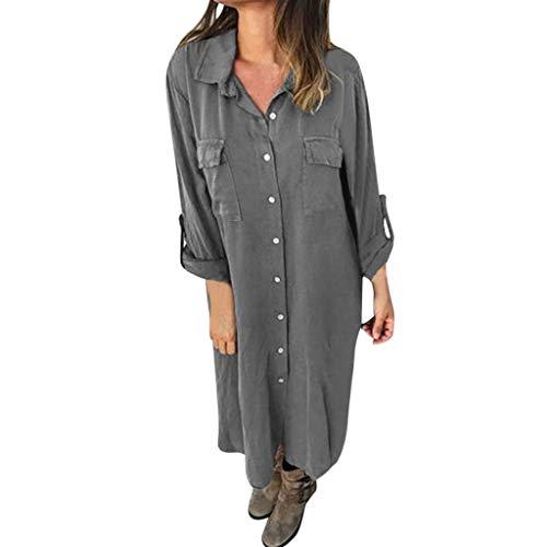 Beikoard Damen Kleid Hemdblusenkleid Mode geknöpft einfarbig langärmeliges Kleid Langer Hemd mitTasche - 20 S Flapper Kleid