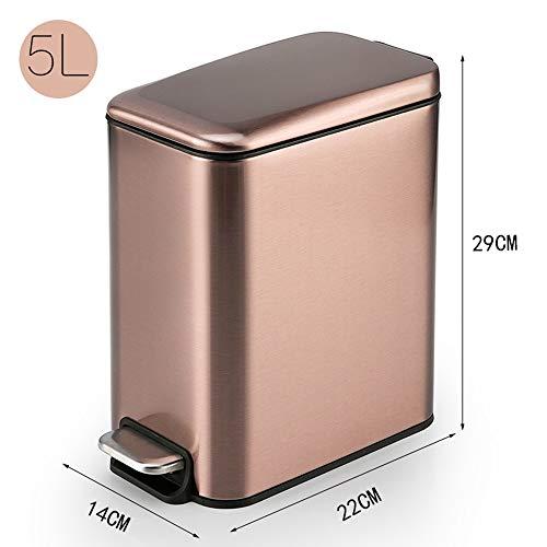MOCHENG Touchless Stainless Steel Müll Papierkorb Papierkorb Papierkorb Papierkorb Kann mit Deckel Automatischer Papierkorb Büro Mülleimer 5L(Rose gold) (Papierkorb Edelstahl öffnen)