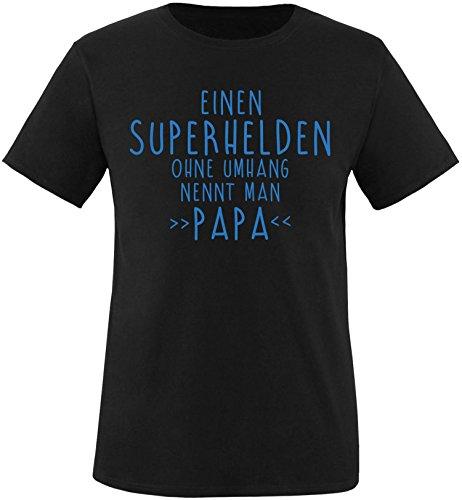 EZYshirt® Einen Superhelden ohne Umhang nennt man Papa Herren Rundhals T-Shirt Schwarz/Blau