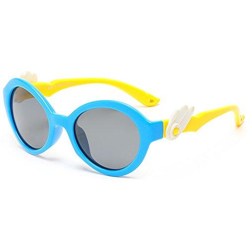 Easy Go Shopping Angel Wings Cute Kids Sonnenbrillen Polarisierte Gläser UV-Schutz Jungen und Mädchen Alter 3 bis 12 mit Geschenkbox (Farbe : Blau)