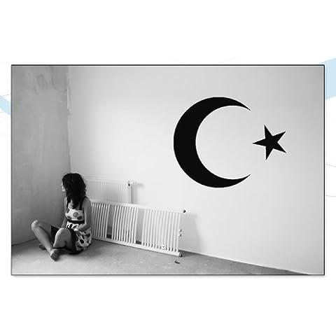 Indigos UG WG10018-90 W018 Adesivi da Parete, Modello Mezza Luna Stella Turchia Islam Arabia, 80 x 64, Blu Argento