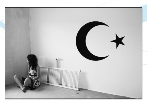 WANDTATTOO / Wandsticker w018 Halbmond Stern Türkei Islam Arabien 40x32, schwarz