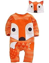 Happy Cherry Cartoon Mono Pijama de Puro Algodón Infantil Pelele Ropa de Una Sola Pieza con Gorro para Bebé Niño Niña Baby Romper Jumpsuit 4 Modelos a Elegir