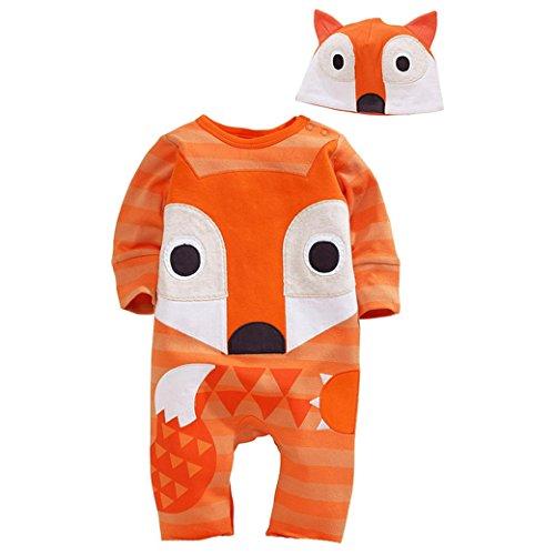 Happy Cherry Baby Overall Baumwolle Kind Jungen Schlafanzug mit Hut Herbst Spielanzug Frühling Cartoon Fuchs Model Fleeceanzug Jumpsuit 95 - Orange