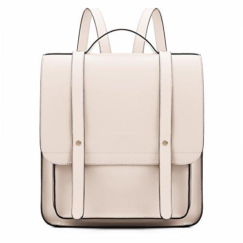ECOSUSI Rucksackhandtaschen Set mit Einer Kleinen Brieftasche PU Leder Rucksack Beige