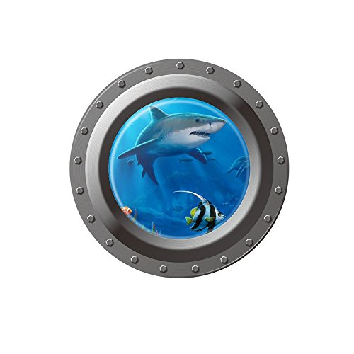 Winhappyhome Submarine 3D FäLschungs Fenster Wand Aufkleber für Kinder Schlafzimmer Wohnzimmer Waschmaschine KüHlschrank TüR Hintergrund Entfernbare Dekor Abziehbilder W001 (Streng Hintergrund)