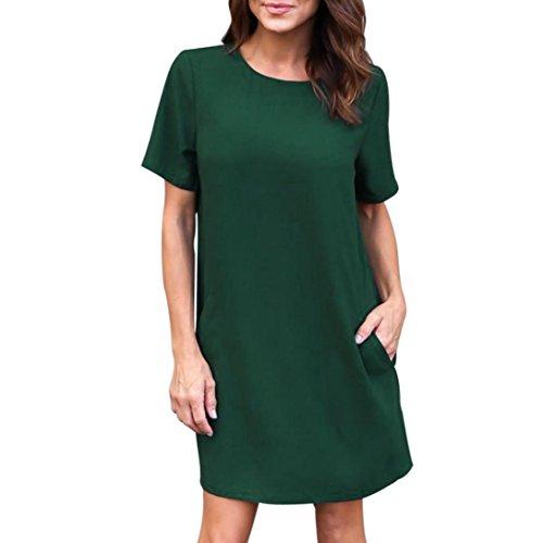 Damen Kleider, GJKK Damen Sommerkleid Beiläufige Rundausschnitt Feste Kurzarm Taschen Plain Kleid Casual Lose T-Shirt Kleid Partykleid Abendkleid Minikleid (Grün, L) (Kleid Freund)