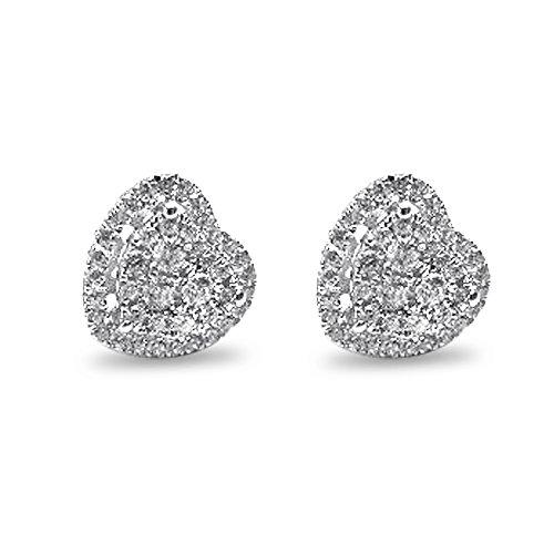 Velini, Damen EA6177 Ohrring, 925 Sterlingsilber, Mikro pflastern Einstellung, AAA-Qualitat, Zirkonia Steinen, glanzt wie Diamanten