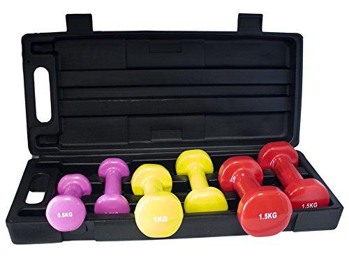 Gymnastik Hanteln Set | Gewichte | Vinyl | Set mit wiederverschließbarer Transport Koffer mit Tragegriff