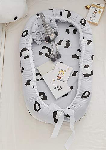bett Nestchen für Neugeborene 100% Baumwolle Kuschelnest Weiches und sicheres Baby-Reisebett (Leopard - Grey) ()