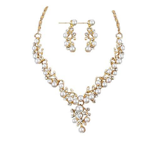 (Dorical Kette Damen, Damen Halskette + Ohrringe/Frauen Elegant Strass Perlenkette Halskette Pendant Halskette Kette amulett zum öffnen mit kette Halskette für Frauen Mädchen Sale(Gold))