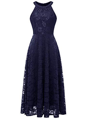 MUADRESS MUA6012 Damen Abendkleid Maxi Spitzenkleid Lang Schulterfrei Ärmellos Floral Marineblau S