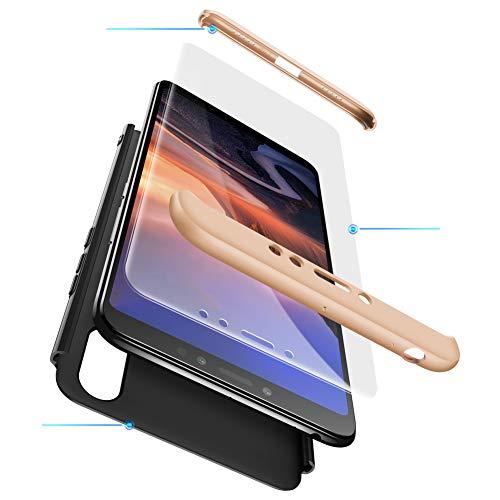 2ndSpring Xiaomi Caso F1 Pocophone, Encuadre de cuerpo de plástico duro de la piel a prueba de golpes Shell con vidrio templado de protector de pantalla XiaoMi RedMi S2 / Y2 5.99 Oro Negro