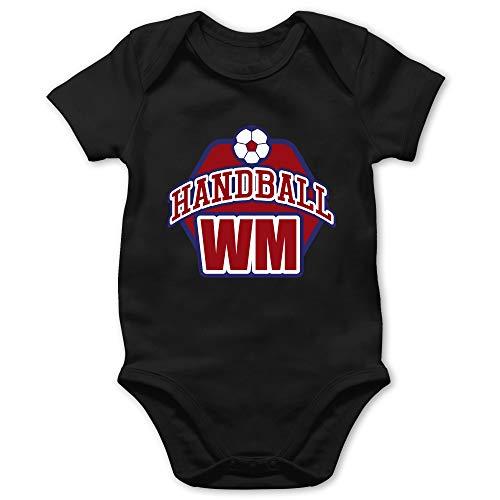 Shirtracer Handball WM 2019 Baby - Handball WM 2019-18/24 Monate - Schwarz - BZ10 - Baby Body Kurzarm für Jungen und Mädchen