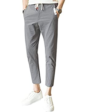 Honghu Uomo Classico Casual Sciolto Slim Fit 100% Cotton Pantaloni