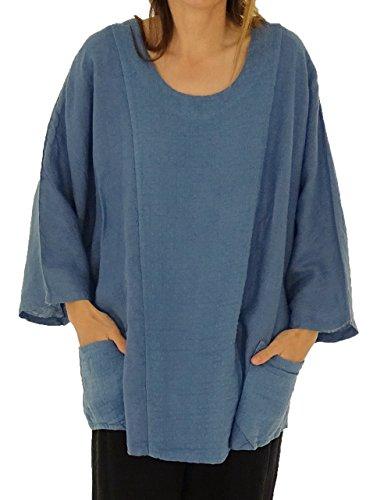 Mein Design Lagenlook de Mallorca Damen Tunika IA900 Leinen Bluse Oversize 3/4 Arm Vintage Gr. 46, 48, 50, 52 Blau