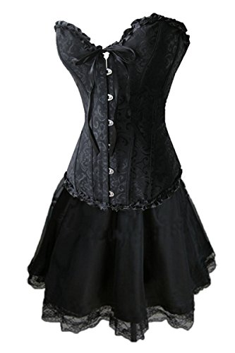Burlesque Box Black Brocade Corset & Skirt. Sizes 6 to 24. Ideal for Gothic or Madonna 80s Dress-Up