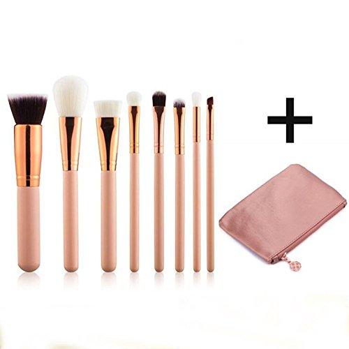 ZXLIFE@Brosse de maquillage de 8 Pcs en or rose avec sac en PU - Brosse de pinceau Kabuki synthétique, Fondation, Blush Blush, Eyeliner, farine