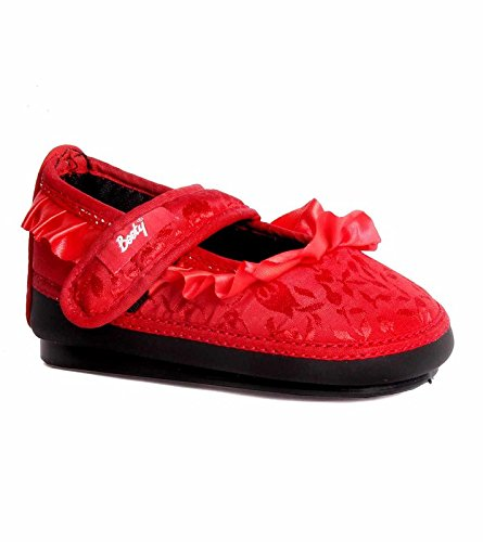Indman Booty Red Silk finish Peep Shoes with Red Satin Frills