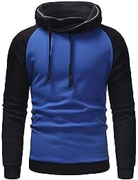 Logobeing Sudaderas de Hombre Invierno Abrigos Ropa Casual Outerwear Manga Larga Camisetas Chaqueta Suéter Chaqueta Punto Hombre Hoodie Tops -D507(XL,Azul)
