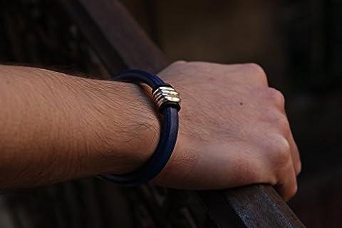 Lederarmband Handgemacht Geschenk für sie Geschenk für ihn blaues Unisex Schmuck aus echtes Regaliz Leder Bracelet für Männer Bracelet für (Schmuck Führer)
