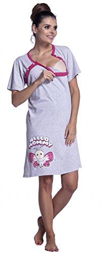 Zeta Ville Maternité Nuisette grossesse Chemise de nuit allaitement femme - 872c Fuchsia