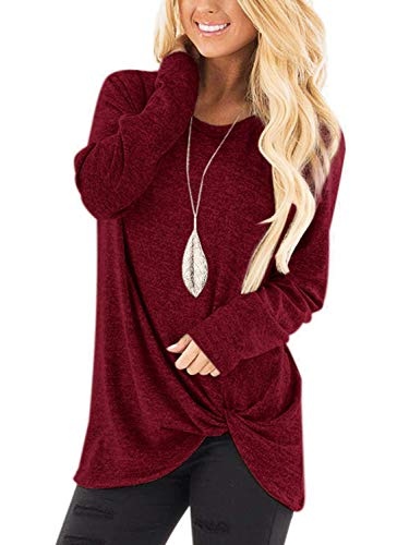 Damen Casual Langarm Bluse Tops Fashion Pullover Strick Pullover Shirts Seite Twist Knoten einfarbig S weinrot