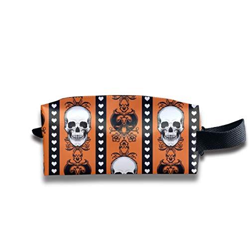 Barock Schädel Streifen Halloween Orange_9290 Tragbare Reise Make-up Kosmetiktaschen Organizer Multifunktions Tasche Taschen für - Halloween-aktivitäten Spanisch