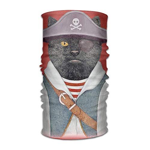 Pirate Cat Headwear For Men And Women-Yoga Sports Travel Workout Wide Headbands,Neck Gaiter,Bandana,Helmet Liner,Balaclava,Hair Turban,Scarf