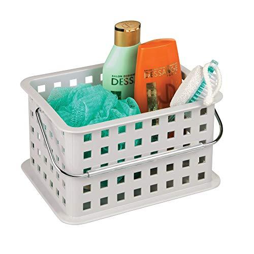 InterDesign Basic corbeille rangement, petit panier salle de bain en plastique pour accessoires de douche et soins, gris clair