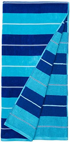 AmazonBasics - Hochwertige Strandtücher - 2-teiliges Set - blaue horizontale Streifen