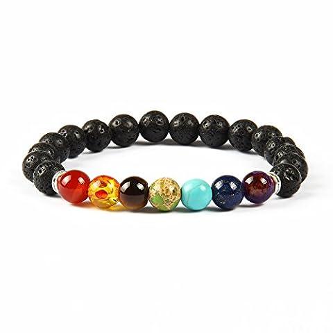 GOOD.designs Chakra-bracelet de perles, Pierre de Lave - Perle de 8mm, 7 Chakren (argent)