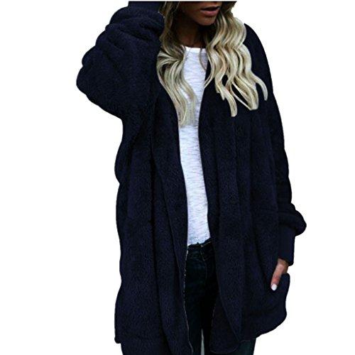 Amlaiworld Sweatshirts Winter Mode Kunstpelz flauschig Strickjacke Damen locker Plüsch Kapuzenpulli weich Lang Pullover (C, M)