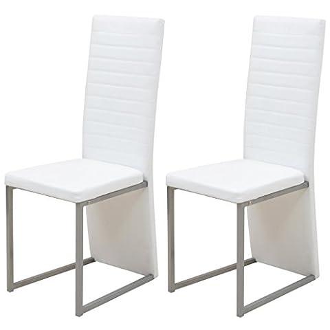 vidaXL Chaise de salle à manger cuisine 2 pcs Blanc Ensemble de chaises à manger