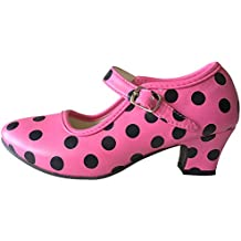 La Señorita Zapato Flamenco baile Sevillanas niña rosa negro (Talla 29 - 18,5 cm, rosa negro)