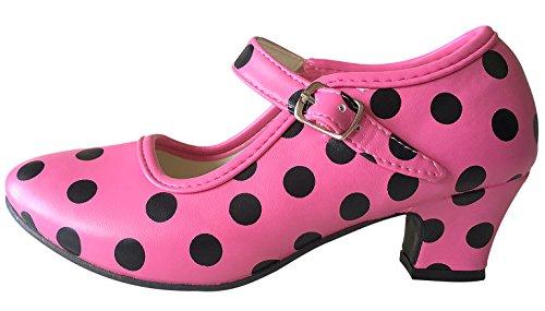 La Señorita Zapato Flamenco baile Sevillanas niña rosa negro (Talla